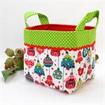 Christmas Fabric Basket 'Ornaments on White' 15cm