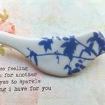 Blue Vine Leaves Ceramic Brooch