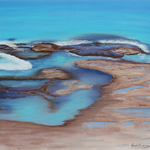 "Rock pool Pastel Painting, Seascape Painting - 10""x8"" Beach, wall art"