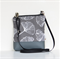 The Small 'Jodi'  handbag Grey vinyl with Ginkgo canvas front.