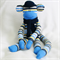 Sock Monkey Craft Kit Navy Blue and Yellow Thin Stripes