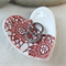 Deep red porcelain heart ring dish, candle holder, ring holder. Ceramic.