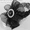 Black Baby / Child Barefoot Bottomless Organza Flower Sandals