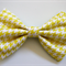Yellow Houndstooth Fabric Hair Bow or Bow Tie