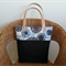 FREE POSTAGE - Charcoal grey and blues canvas/cotton tote with LEATHER Straps