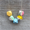 Wooden bead geometric painted  necklace
