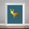 Print faux gold foil moose, navy moose poster, print for bedroom, kids art