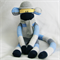 Sock Monkey Craft Kit Blue Yellow and Grey Stripes