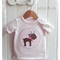 Little Reindeer Tee - Size 3 to 6 months. Size 00. Pretty Pink. First Christmas.