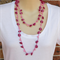 Pink Beads and Wood Crochet Cotton Handmade OOAK Long Necklace by Top Shelf