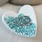 Green floral porcelain heart ring dish, candle holder, ring holder. Ceramic.