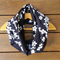 Navy Vintage Infinity Scarf, White Cherry Blossoms