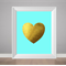 Gold Heart, Print with Heart, Love Poster, Faux gold foil print, Heart in gold
