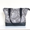 Zippered tote bag, beautiful grey Ginkgo leaf canvas with   vinyl.