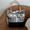 Free Post - Canvas tote with leather straps in tones of black, grey and cream
