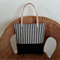 FREE POSTAGE - BLACK and WHITE STRIPED canvas tote with leather straps