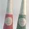 One pair Christmas snoozing gnomes red green chevron