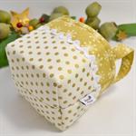 Christmas Fabric Basket 'Gold Dots' 10cm