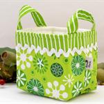 Christmas Fabric Basket 'Green Jingle Snowflakes' 10cm