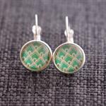 Sea Green Shell ~ Lever Back Earrings