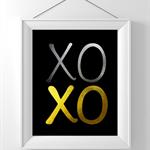 XOXO Print, Faux gold foil print, hugs & kisses, romance art, bedroom poster