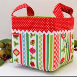 Christmas Fabric Basket 'Patchwork Ornaments' 15cm