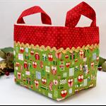 Christmas Fabric Basket 'Mini Owls on Green' 15cm