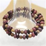 Pink and Brown Natural Gemstone Wrap Bracelet
