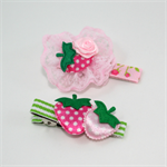 Floral lace strawberry hairclip set