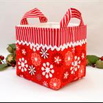 Christmas Fabric Basket 'Red Jingle Snowflakes' 15cm