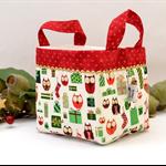 Christmas Fabric Basket 'Mini Owls on Cream' 15cm