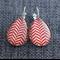 Red Sway Chevron ~ Teardrop Lever Back Earrings