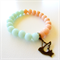 Mint / Peach pastel Bracelet with Bird Charm