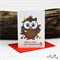 Light me up Button Owl - Christmas Card - Blank Inside
