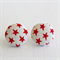 Buy 3 Get 1 Free! Red Star Fabric Button Stud Earrings