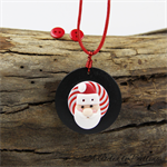 Christmas Santa - Red Black White Button Pendant Earring Set - Buttons - Cord