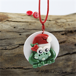 Christmas Frog - Red Holly Button Pendant and Earring Set - Buttons - Cord