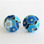 Buy 3 Get 1 Free! Blue Flower Fabric Button Stud Earrings