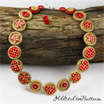 Natural Wood with red spotted Buttons - heart - Necklace  - Jewellery - Earrings