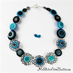 Turquoise Black and White - Swirls - Button Necklace Button Jewellery - Earrings