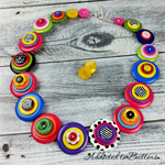 Bright Neon Colourful Spot Stripe - Buttons Necklace Button Jewellery - Earrings