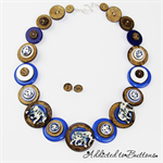 Baby Elephant Walk - Blue / white - Buttons Necklace Button Jewellery - Earrings