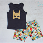 Boys Shorts and singlet set super hero batman