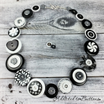 Classic Black + White - swirls spot damask Necklace Button Jewellery - Earrings