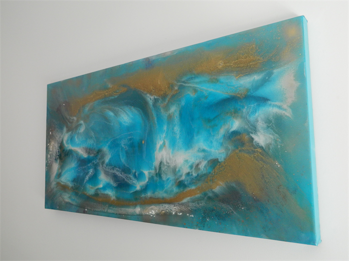 Epoxy Painting Canvas : Epoxy resin abstract painting thermal current quot