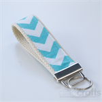 Aqua and White Key Fob Chevron Pattern
