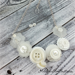 Button Fusion - Snow White Button Necklace - Button Jewellery - Earrings