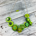 Button Fusion - Green Lime Button Necklace - Button Jewellery - Earrings