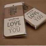 """Stamped tag- """"Handmade with Love just for You"""" (set of 12) - Great for handmade"""