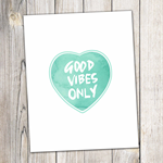 Watercolour Print - Good vibes / Aqua / Turquoise / Hand lettering